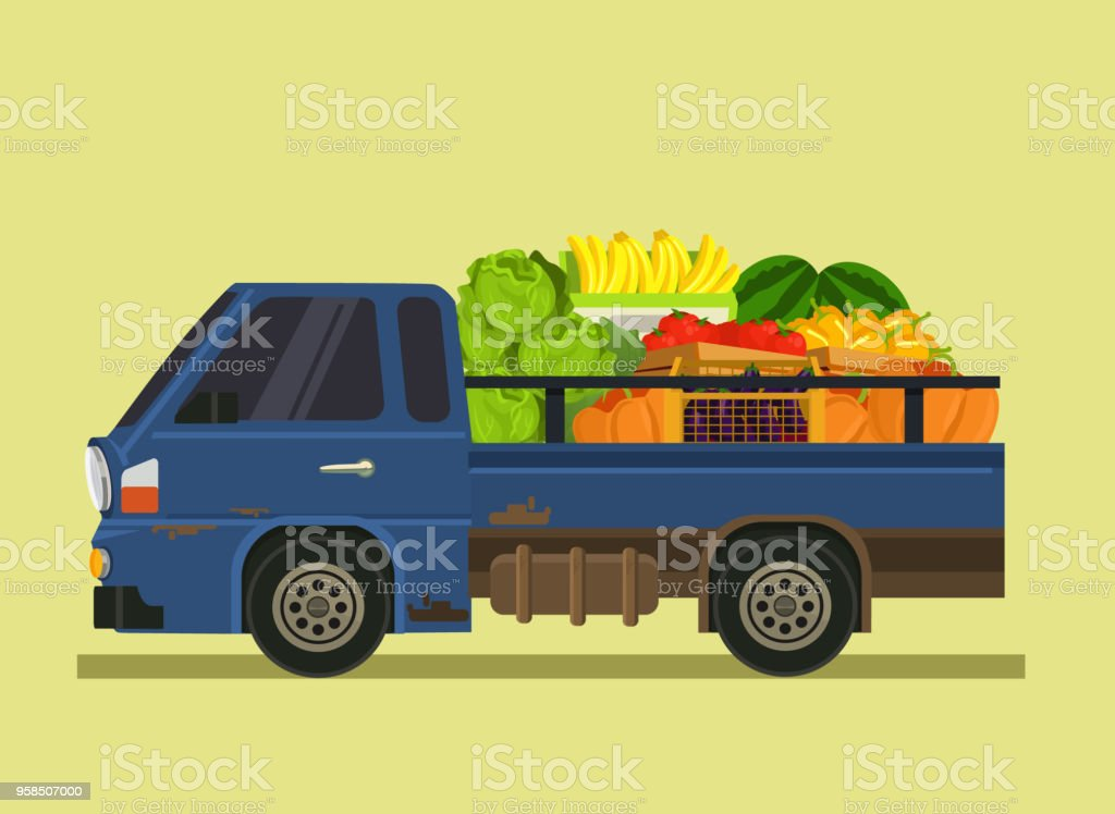Car auto machine automobile full of vegetables fruit. Farm countryside farming produce agriculture summer time isolated cartoon flat illustration vector art illustration