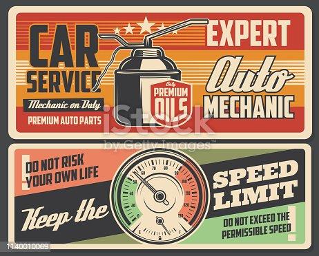 Car service on engine and gear transmission oil change. Automobile spare parts shop and garage station mechanic restoration station, speed limit warning vector vintage poster