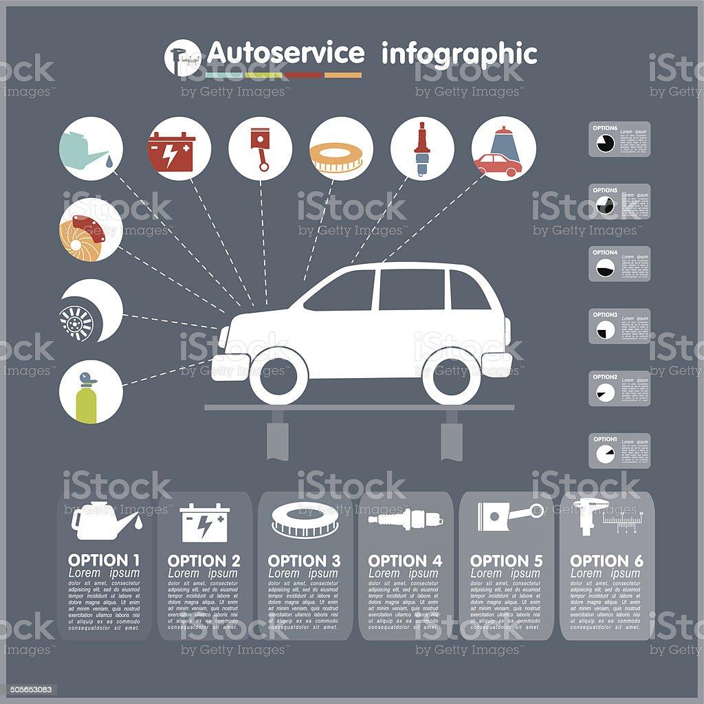 Autoautoservice Infografiken Designelemente Mit Mechanischen Teile ...