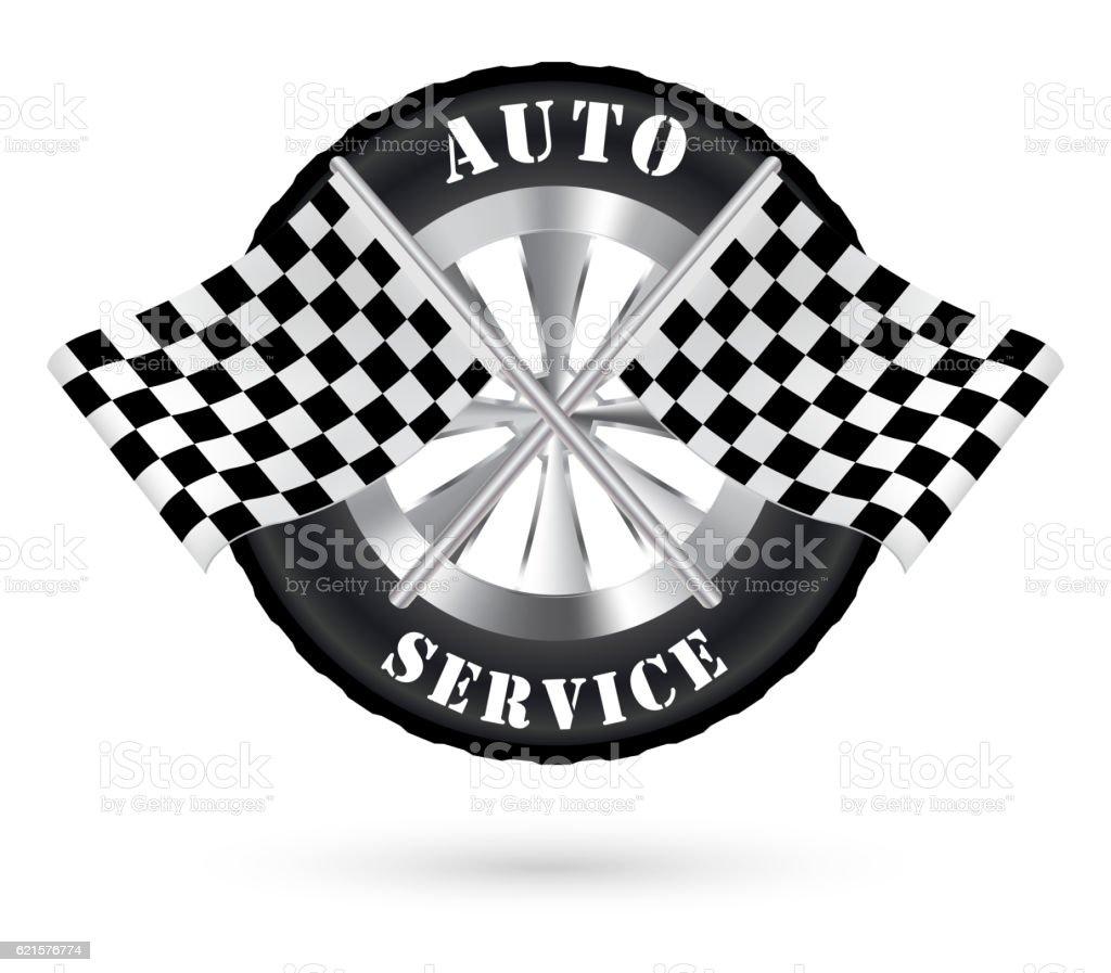 car auto service logo with racing flag car auto service logo with racing flag – cliparts vectoriels et plus d'images de affaires libre de droits