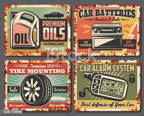 Car service and auto garage repair station posters with rust effect. Vector vintage design for premium engine oils change and battery mechanic and tire pumping or car alarm installation