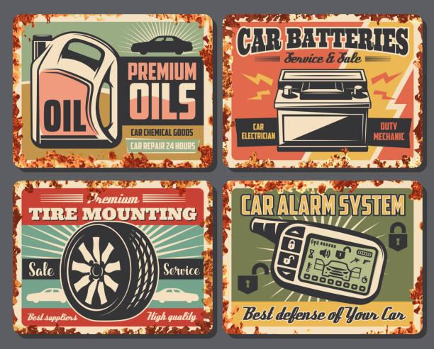 auto auto service-station rostigen retro-poster - edelrost stock-grafiken, -clipart, -cartoons und -symbole