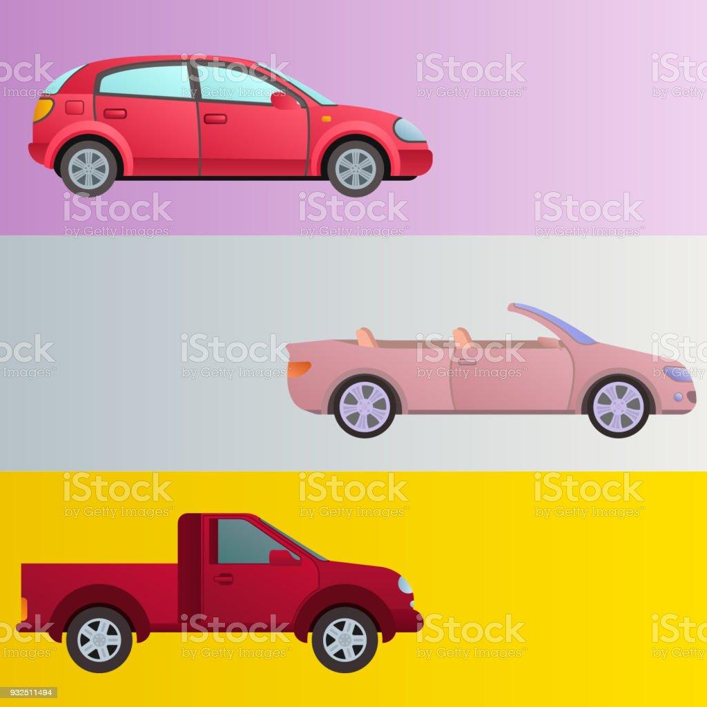 Ilustración de Diseño De Tipo De Transporte De Coche Auto Vehículo ...
