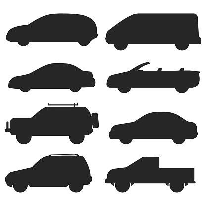 Car auto vehicle transport silhouette type design travel race model technology style and generic automobile contemporary kid toy flat vector illustration