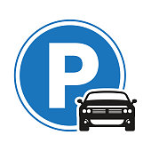 istock Car / automobile parking sign icon with circle shape 1235662202