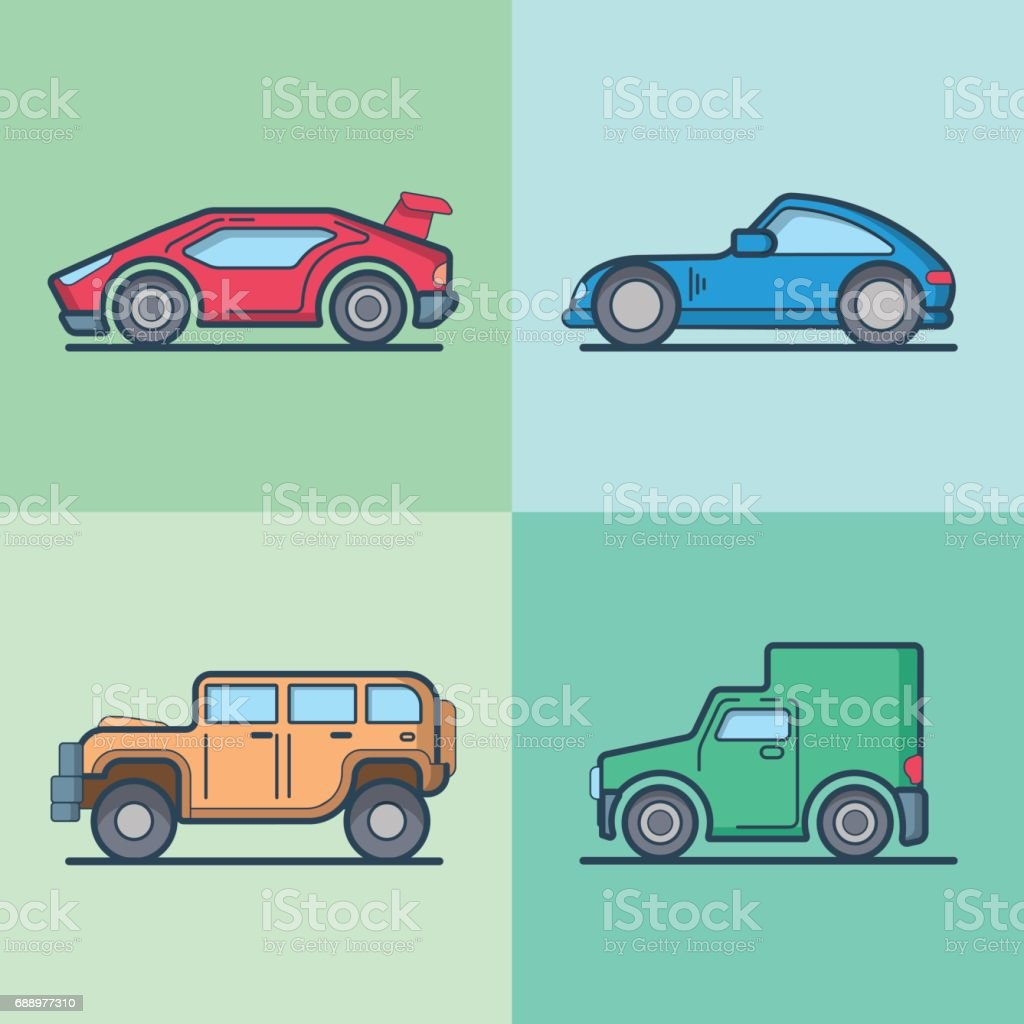 Car automobile sportscar supercar van cool transport set. Linear stroke outline flat style vector icons. Color outlined icon collection. vector art illustration