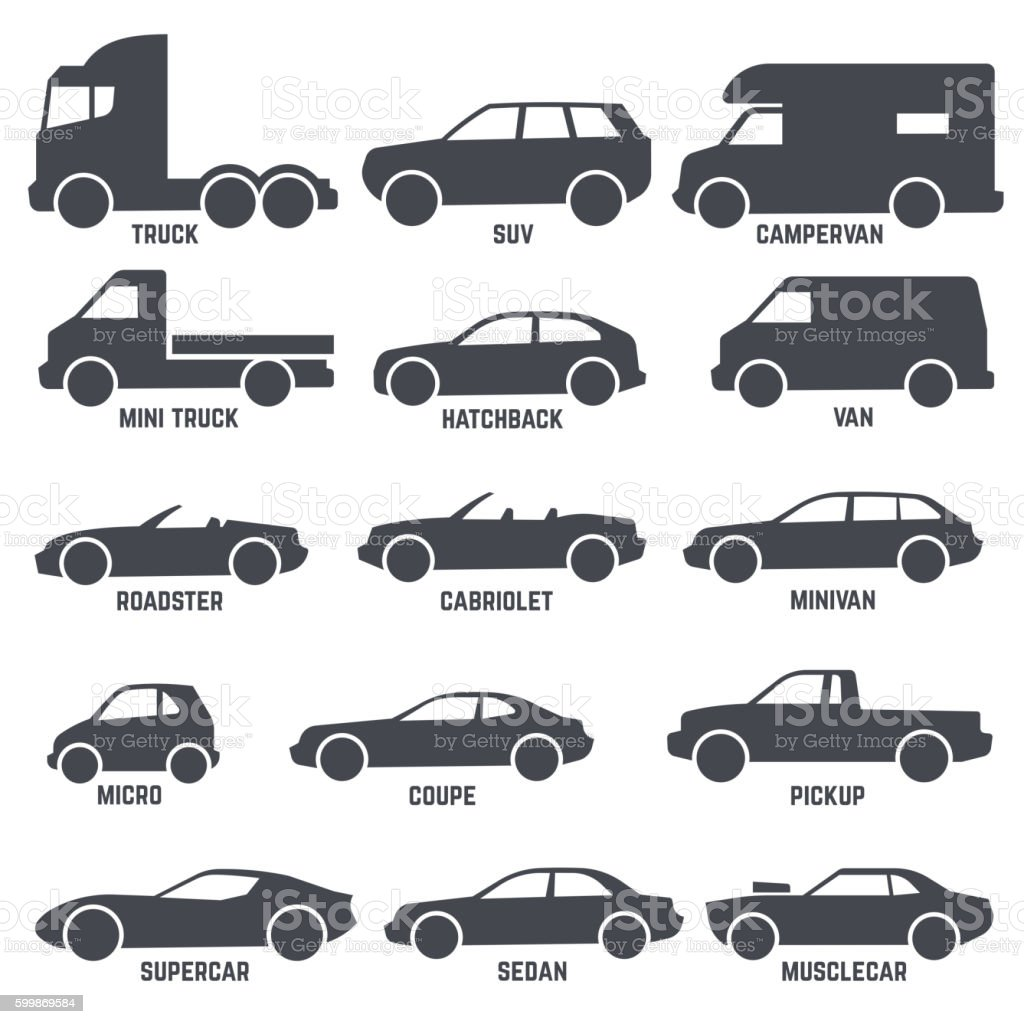 Car automobile types black vector icons isolated on white vector art illustration