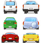 Vector cartoon Car rear set 2. With back view of six different types of car. Pick up truck, truck, mini van, station wagon, sports car, hatchback.