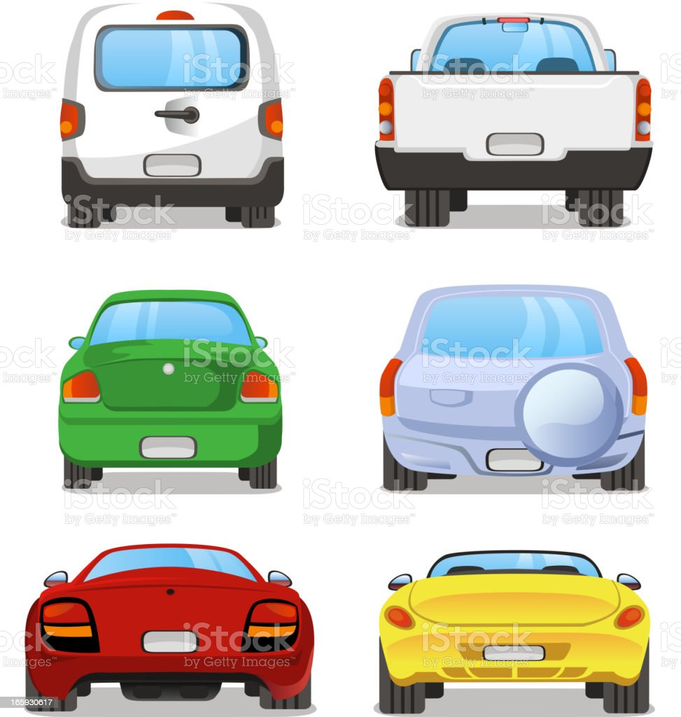 Car back view rear set 2 vector art illustration