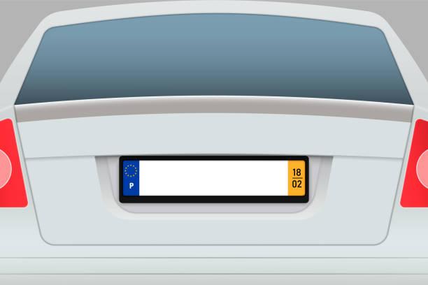 auto zurück blick mit nummernschild. - nummernschilder stock-grafiken, -clipart, -cartoons und -symbole