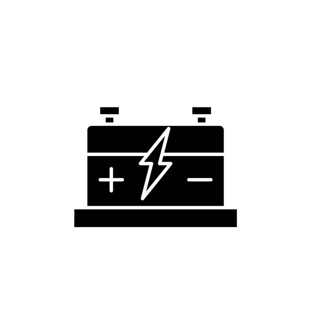 Car battery black icon, vector sign on isolated background. Car battery concept symbol, illustration Car battery black icon, concept vector sign on isolated background. Car battery illustration, symbol hybrid vehicle stock illustrations