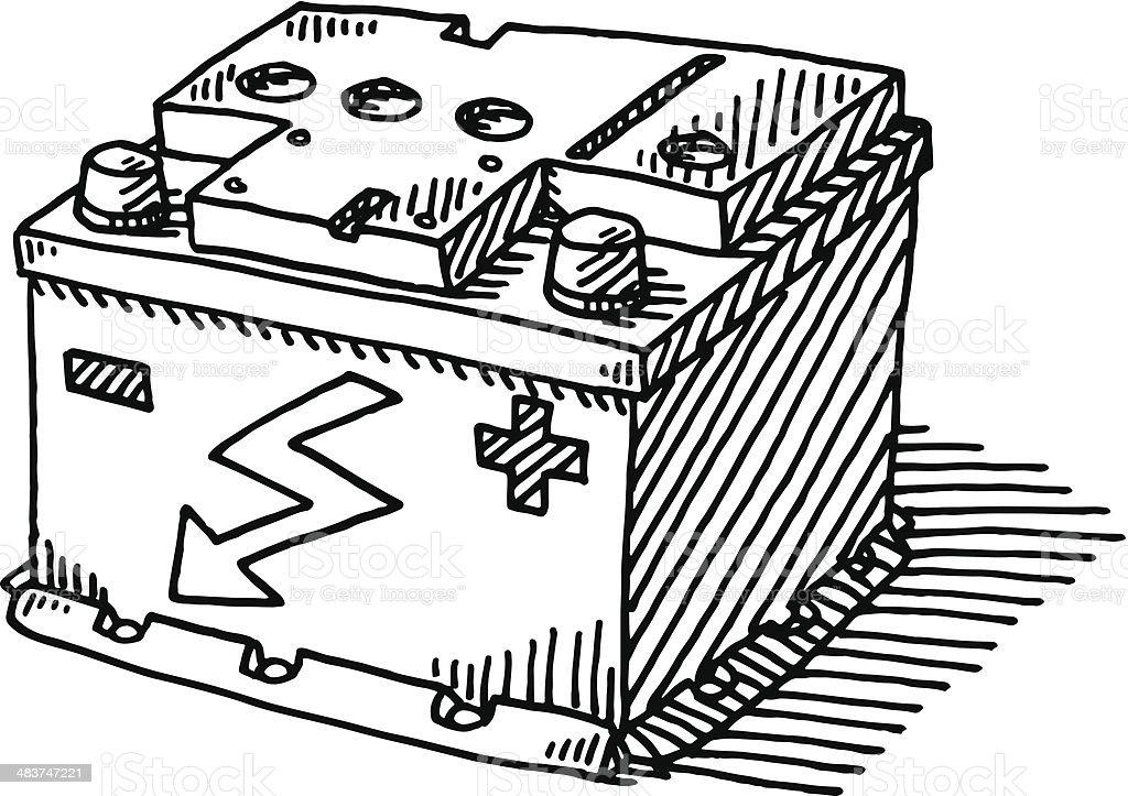 Autobatterie Zeichnung – Vektorgrafik