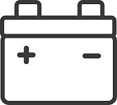 Car Battery Flat Simple outline line art design Icon