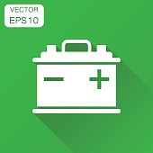 Car battery icon. Business concept auto accumulator battery pictogram. Vector illustration on green background with long shadow.