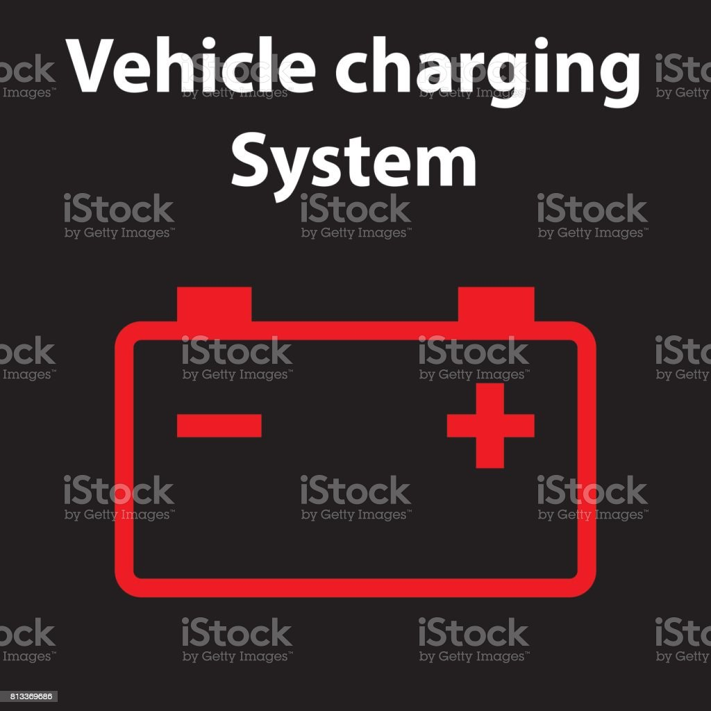 Car Battery Icon Electric Charging System Dashboard Warning Signs - Car image sign of dashboarddashboard warning lights stock images royaltyfree images