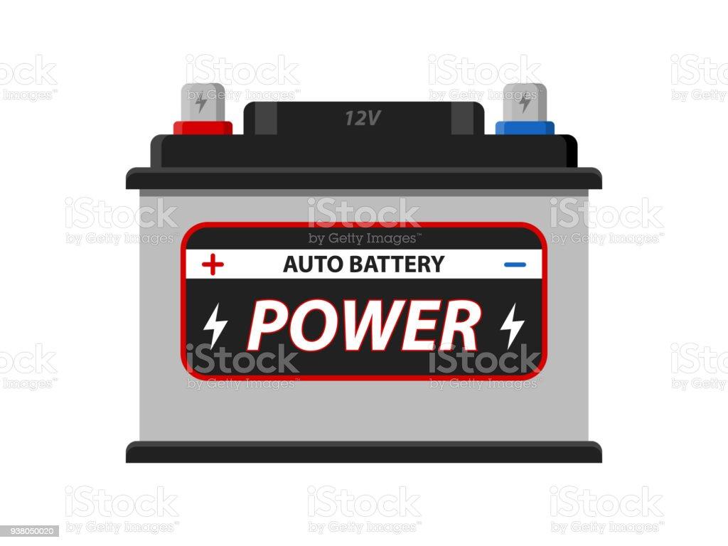 Car Battery icon isolated on white background. Accumulator battery energy power and electricity accumulator battery. Battery accumulator car auto parts electrical supply power in flat style. vector art illustration