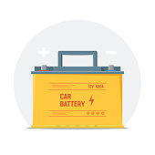Car battery icon. Isolated yellow battery with plus and minus symbols. Element of infographics check, charge and use car battery. Vector illustration.