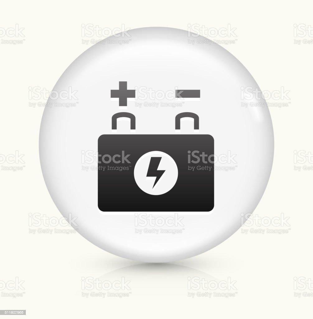 Autobatterie Symbol auf weißer Runder Vektor Knopf – Vektorgrafik