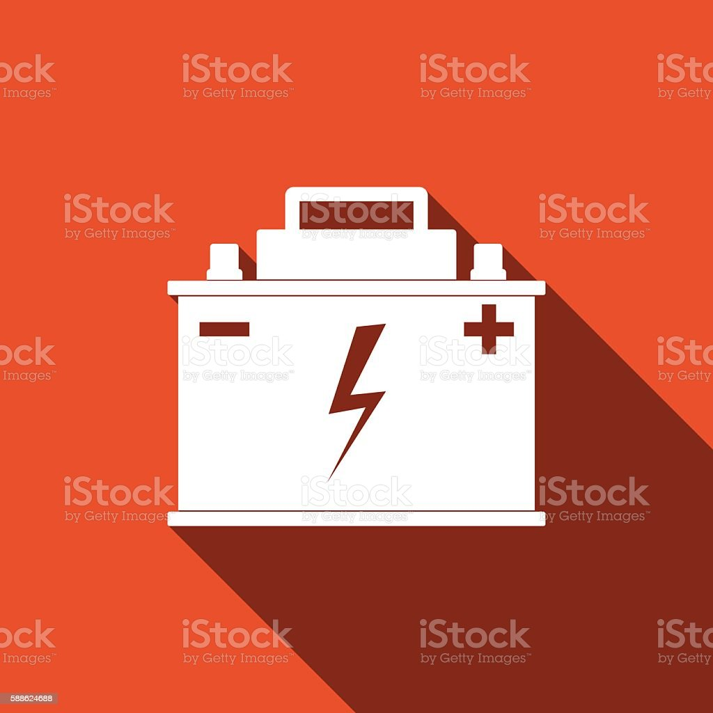 Car Battery Icon With Long Shadow Stock Vector Art More Images Of