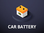 Car battery icon, vector symbol in flat isometric style isolated on color background