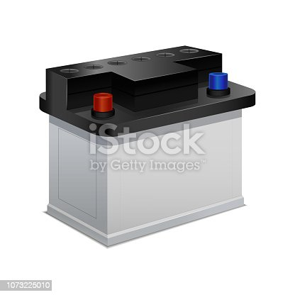 Car Battery Isolated on a White Background 3d Isometric View for Web and App. Vector illustration of Accumulator