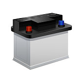Car Battery on a White 3d Isometric View. Vector