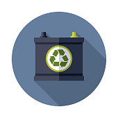 Car Battery Recyclables Icon