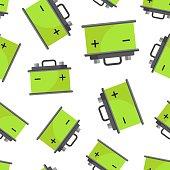 Car battery seamless pattern background. Business flat vector illustration. Auto accumulator battery energy power symbol pattern.