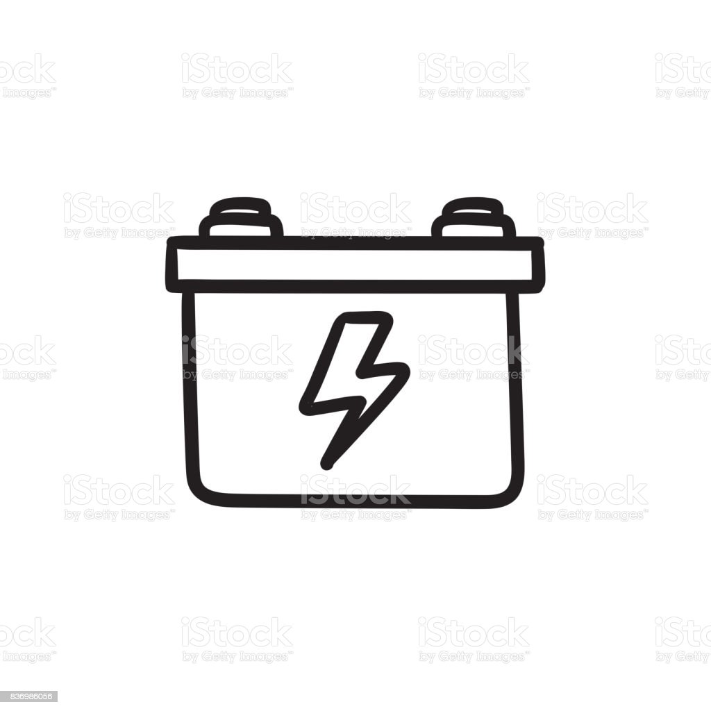 Car Battery Sketch Icon Stock Vector Art  for Car Battery Symbol  45ifm