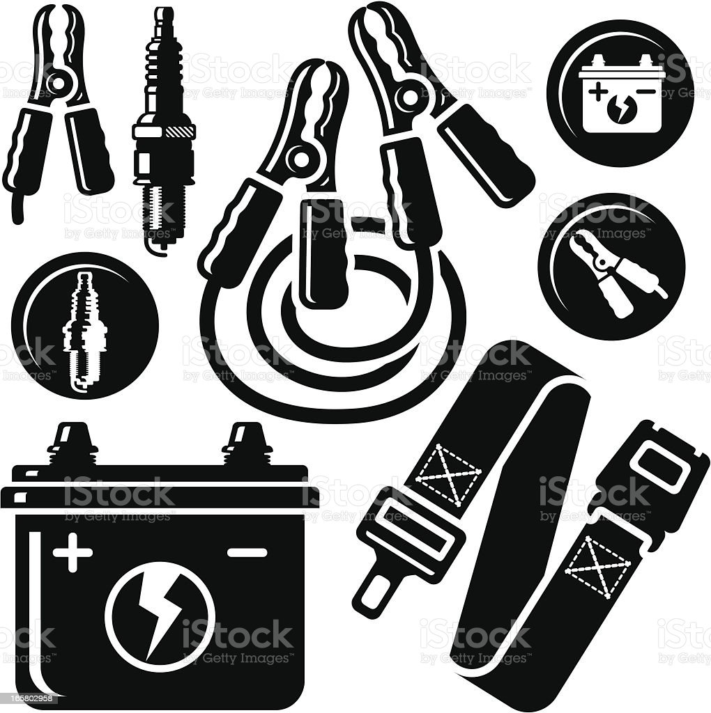 Car Battery,Spark Plug,Safety Belt,Jump Leads Icons royalty-free stock vector art