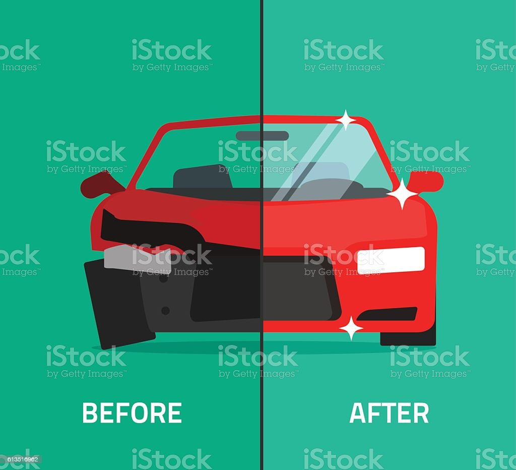 Car before after, crashed, broken and repaired auto maintenance service - ilustración de arte vectorial