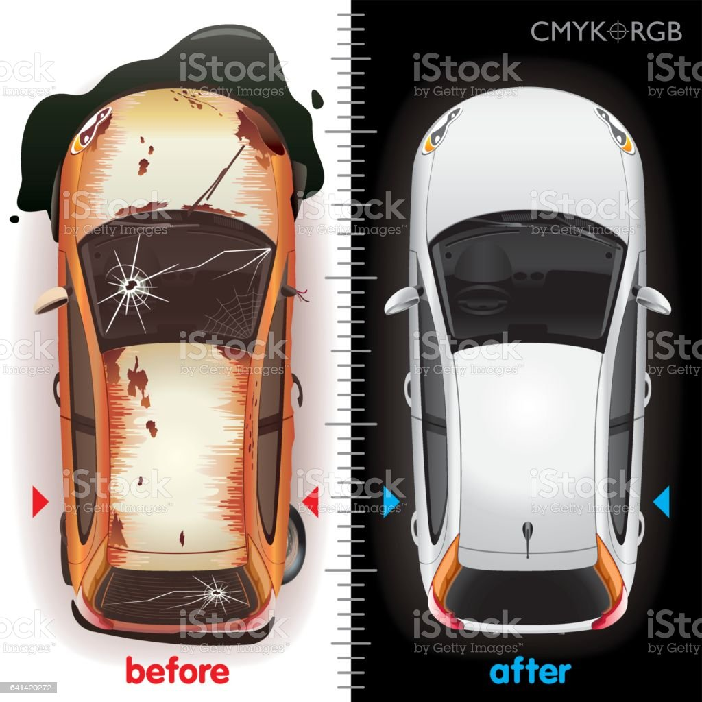 Car Before Repair and After vector art illustration