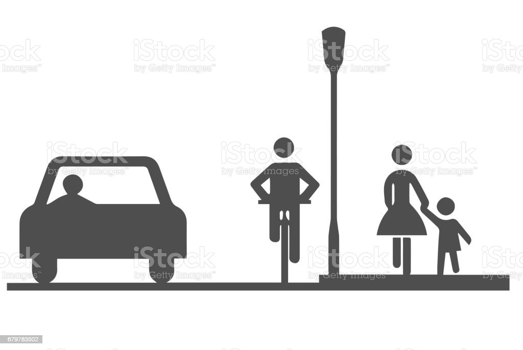 Car, bicyclist and pedestrians vector art illustration