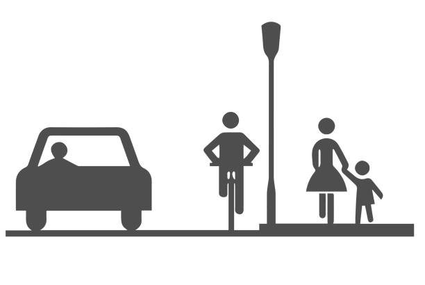 illustrazioni stock, clip art, cartoni animati e icone di tendenza di car, bicyclist and pedestrians - marciapiede