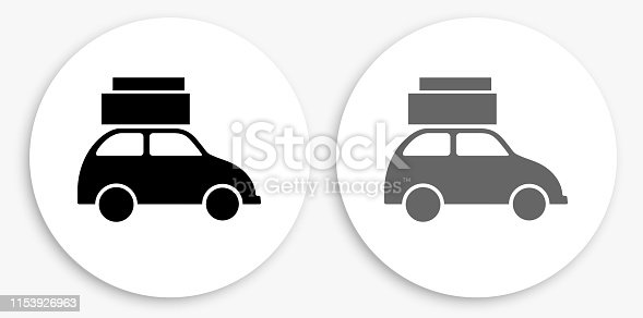 Car Black and White Round Icon. This 100% royalty free vector illustration is featuring a round button with a drop shadow and the main icon is depicted in black and in grey for a roll-over effect.
