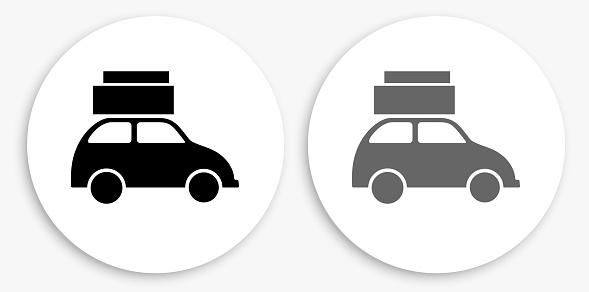 Car Black and White Round Icon