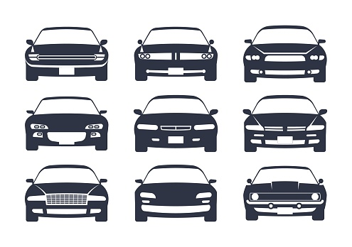 Car black silhouette. Cars front view icon set, vehicle monochrome mockup, regular sedan auto for family, race or different services, automobile pictogram vector illustration