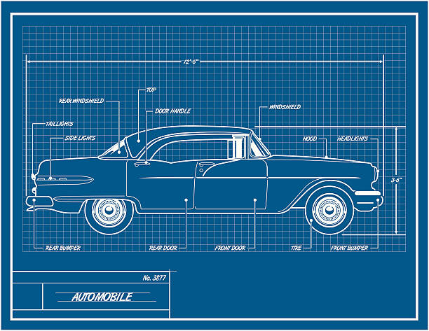 Royalty free car blueprint clip art vector images illustrations car blueprint vector art illustration malvernweather Gallery