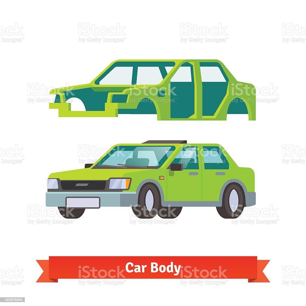 Car body and sedan auto built on it vector art illustration