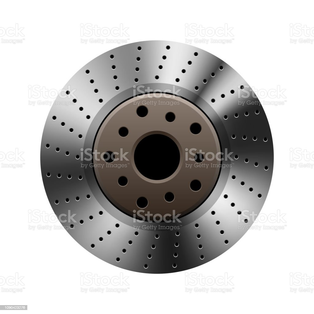 Car brake disc on plain background vector art illustration