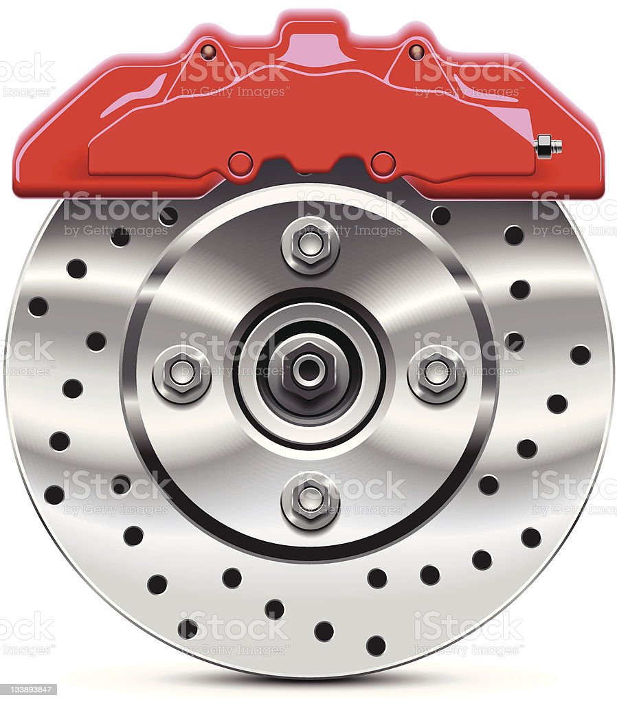 Car brake disc vector art illustration