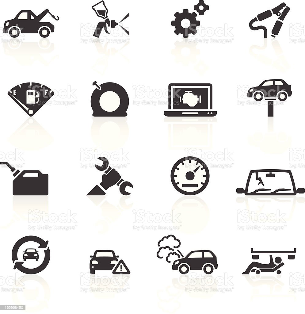 Car Breakdown & Repair Icons vector art illustration
