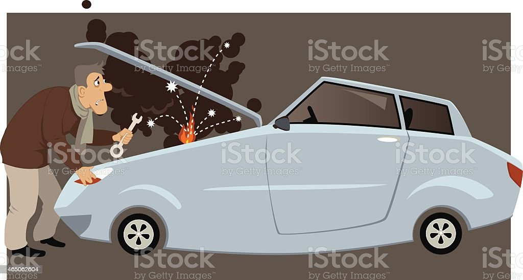 Car broke down vector art illustration