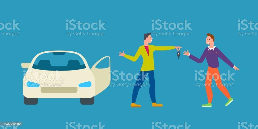 Negocio de coches comparten el concepto de servicio, Ilustración de alquiler de coche. Hombre da la llave del coche al conductor. Diseño moderno de estilo plano - ilustración de arte vectorial