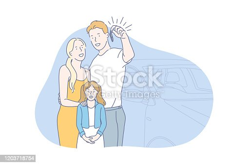 Car, buy, family concept. Young family bought brand new car. Happy man woman and their child show key from their vehicle. Boy, girl and child use carsharing and go on vacation. Simple flat vector.
