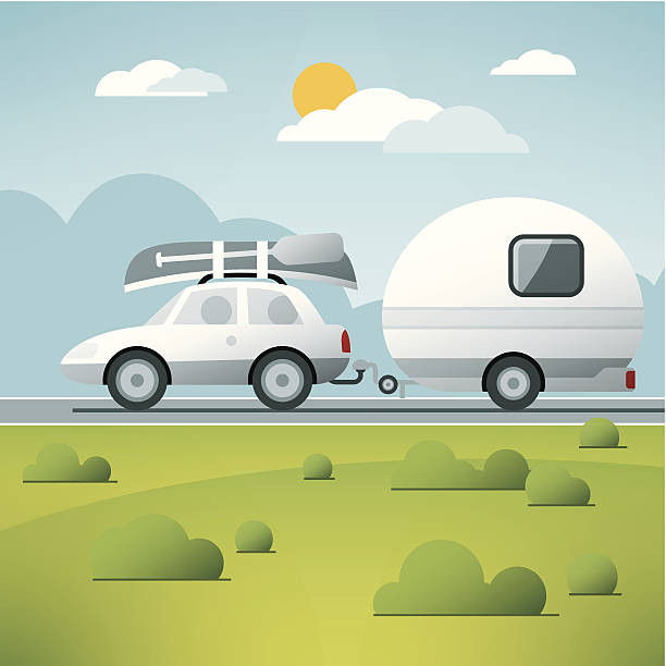 Car Caravan Vacation Trip Vector vector art illustration