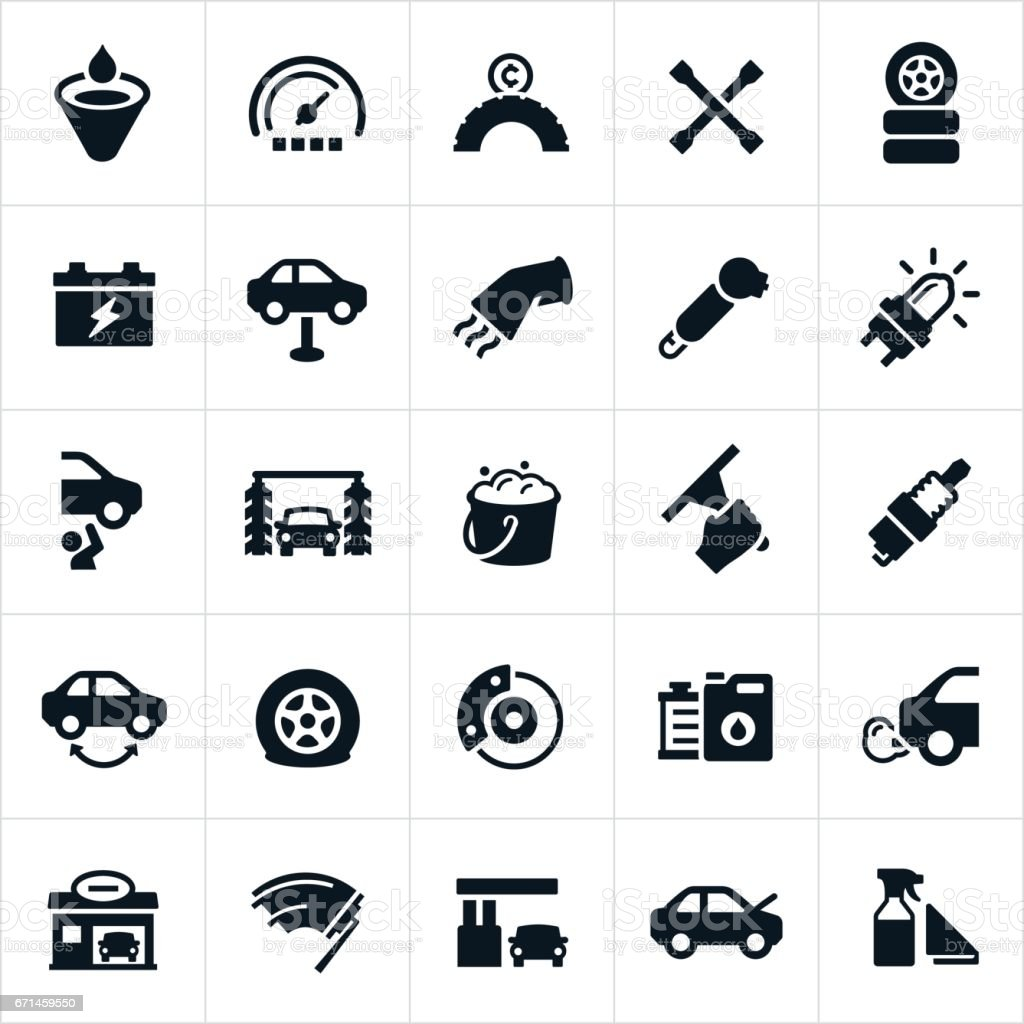 Car Care and Maintenance Icons vector art illustration