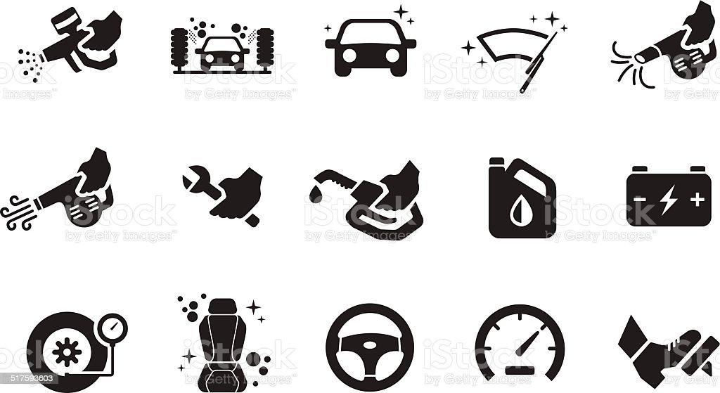 Car care icons - Illustration vector art illustration