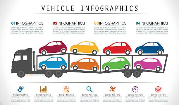auto carrier trailer infografiken - autotransporter stock-grafiken, -clipart, -cartoons und -symbole