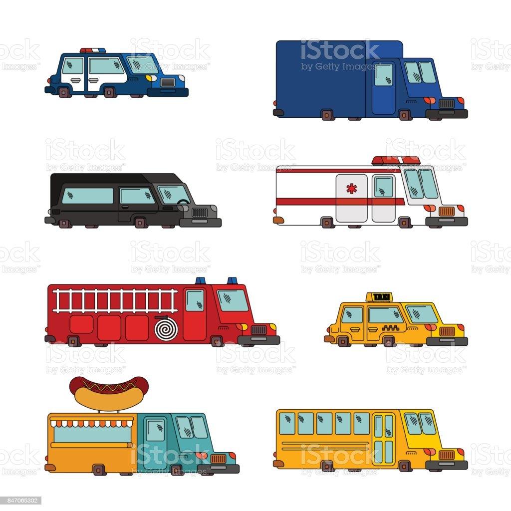 Arabası çizgi Film Seti Itfaiye Ve Polis Arabası Ambulans Ve Taksi